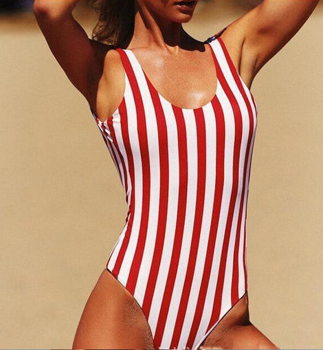 Retro High Cut Striped One Piece Swimsuit