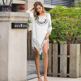 Tassel Trimmed Flowy Swimsuit Cover Up Mini Dress