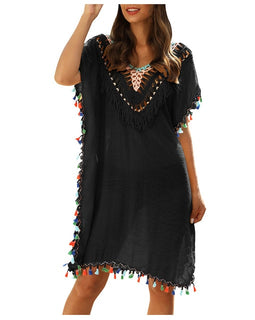 Crochet Mini Dress ft. Colorful Tassels Swimsuit Cover Up