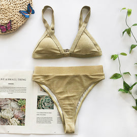Shimmering Gold High Waisted Bandage Bikini Set