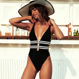 Double Belted One Piece Monokini Swimsuit