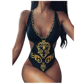 Sexy Monokini Black & Gold One Piece