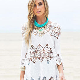 Lace Crochet Beachwear Mini Dress Cover Up
