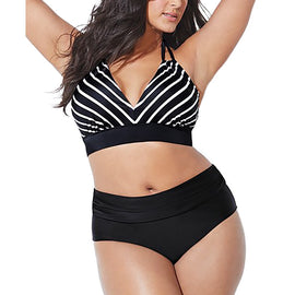 Flattering Black & White Stripes Plus Size Bikini Set