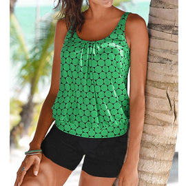 Geometric Print Sporty Tankini Set (Color Options)