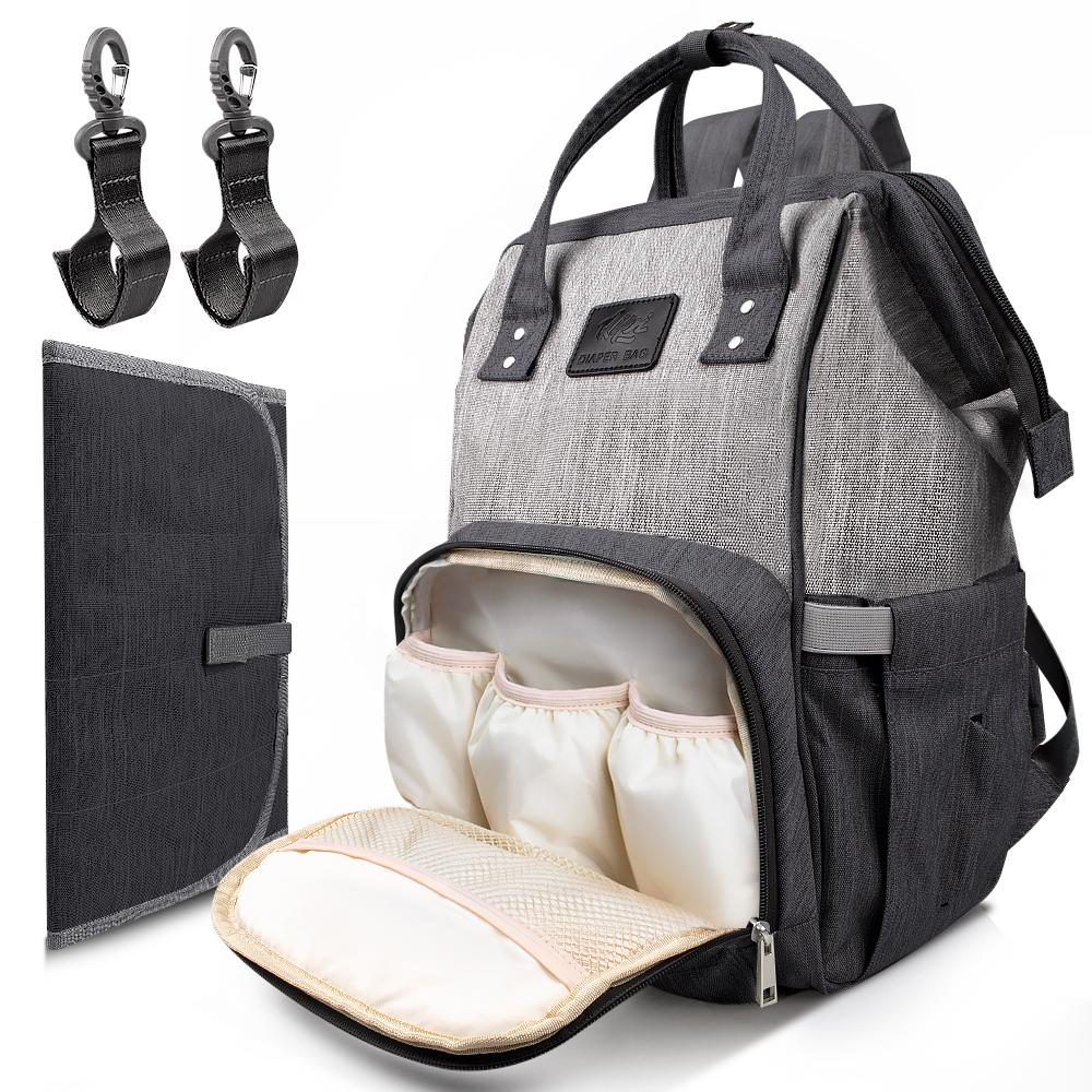 DIAPER BAG WITH CHANGING PAD - Backpack for Mom & Dad OutdoorMaster Black&Grey