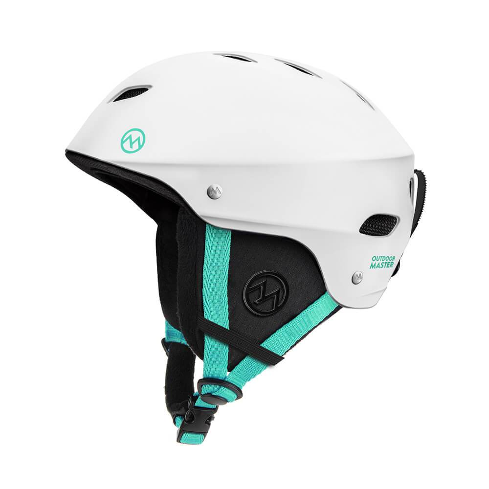 KELVIN SKI HELMET - with ASTM Certified Safety OutdoorMasterShop White+Teal S 19-20.5 inches