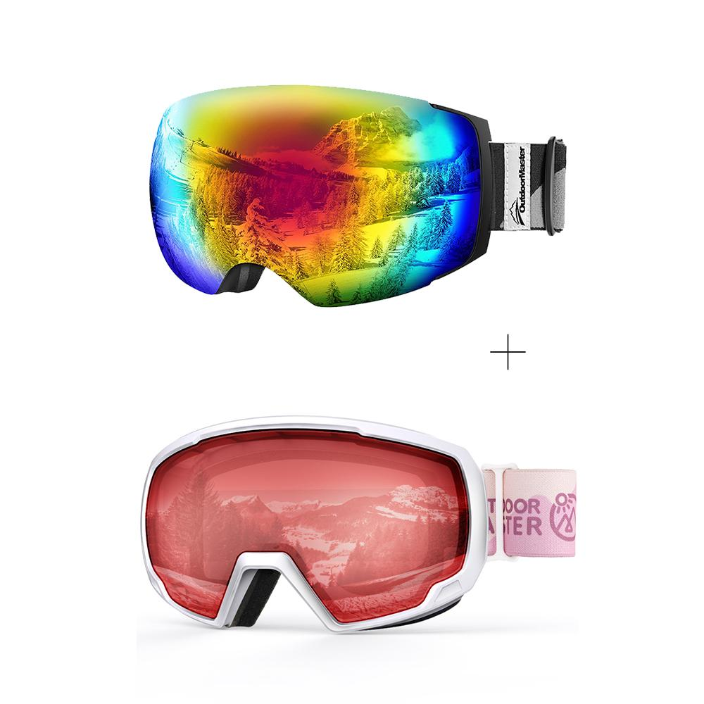 XMAS Bundle Sales - Ski Goggles PRO + Kids Ski Goggles PRO - 2 in 1 Package OutdoorMaster Goggles PRO:Black-Grey Frame VLT15% Colourful Lens + Kids Goggles PRO:VLT 54% Pink Lens