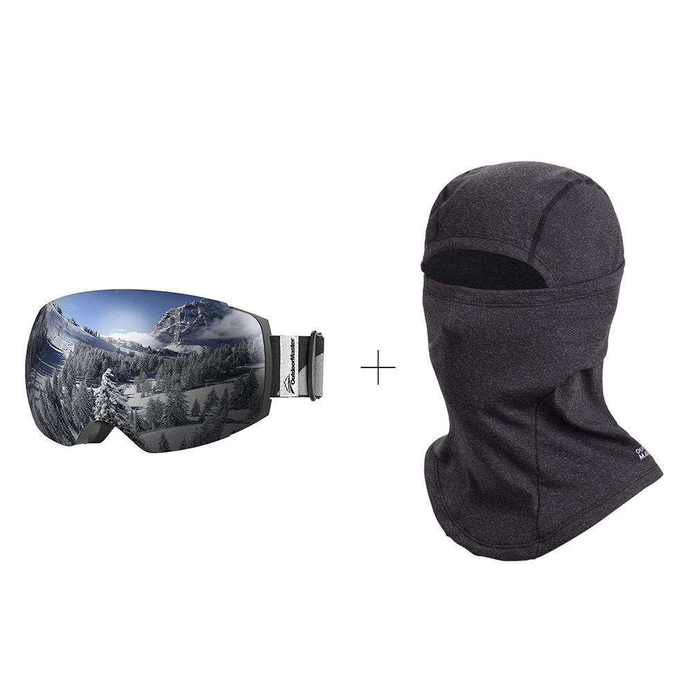 XMAS Bundle Sales - Ski Goggles PRO + 3 Layer Face Mask - 2 in 1 Package OutdoorMaster Black-Grey Frame VLT 10% Grey Lens