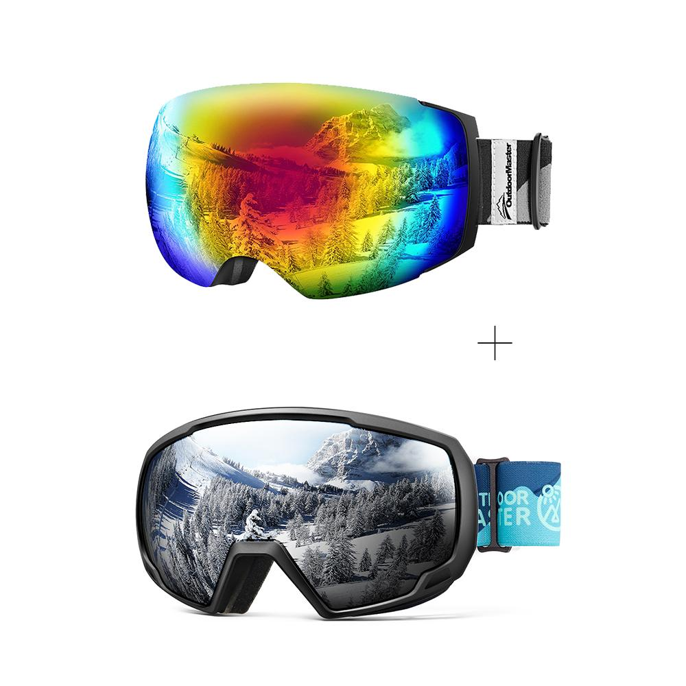 XMAS Bundle Sales - Ski Goggles PRO + Kids Ski Goggles PRO - 2 in 1 Package OutdoorMaster Goggles PRO:Black-Grey Frame VLT15% Colourful Lens + Kids Goggles PRO:VLT 10.2% Black Lens