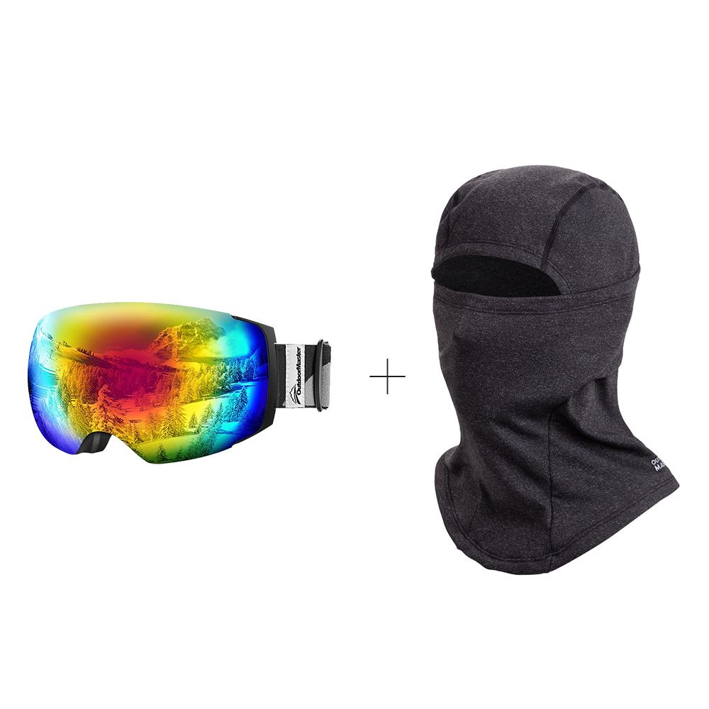 XMAS Bundle Sales - Ski Goggles PRO + 3 Layer Face Mask - 2 in 1 Package OutdoorMaster Black-Grey Frame VLT 15% Colourful Lens
