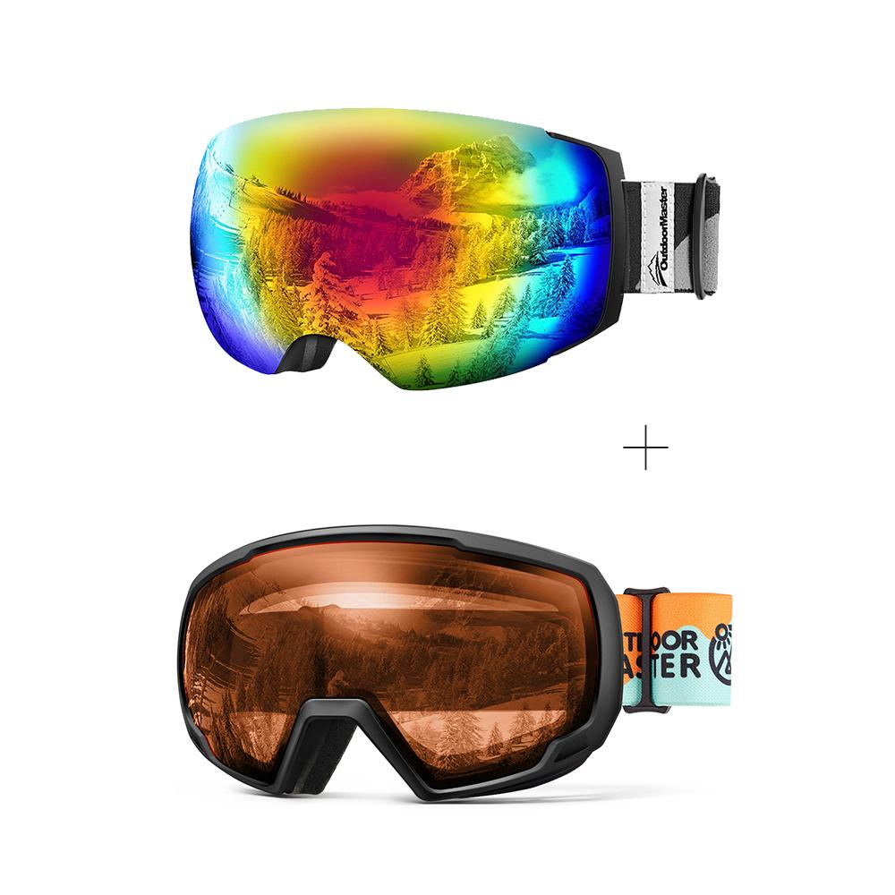 XMAS Bundle Sales - Ski Goggles PRO + Kids Ski Goggles PRO - 2 in 1 Package OutdoorMaster Goggles PRO:Black-Grey Frame VLT15% Colourful Lens + Kids Goggles PRO:VLT 58% Orange Lens