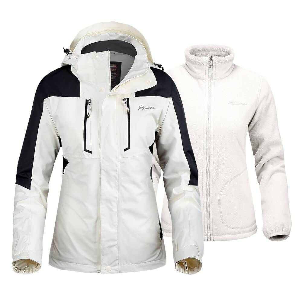 WOMEN'S 3-IN-1 OUTDOOR JACKET OutdoorMasterShop White XL