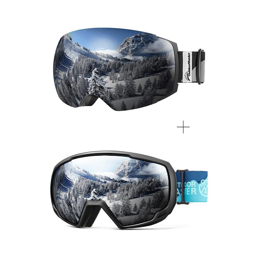 XMAS Bundle Sales - Ski Goggles PRO + Kids Ski Goggles PRO - 2 in 1 Package OutdoorMaster Goggles PRO:Black-Grey Frame VLT 10% Grey Lens + Kids Goggles PRO:VLT 10.2% Black Lens