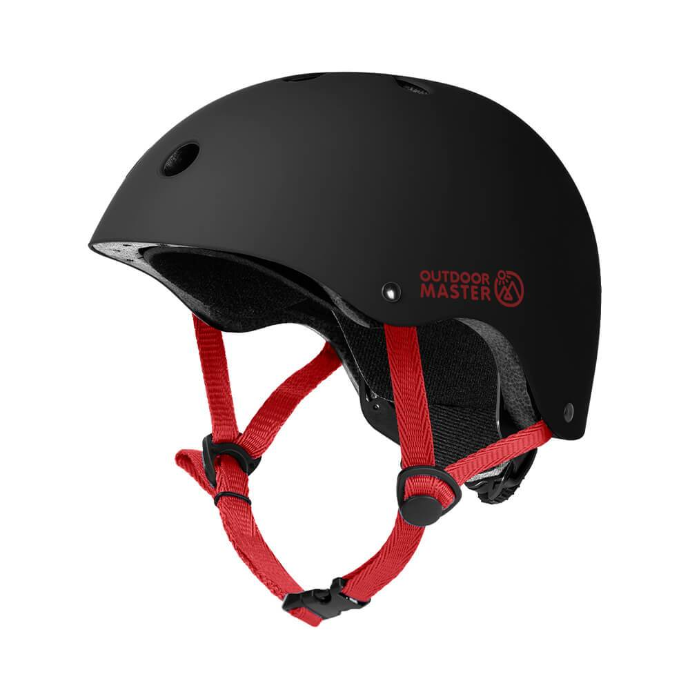 KIDS SKATEBOARD HELMET OutdoorMaster Black-Red S