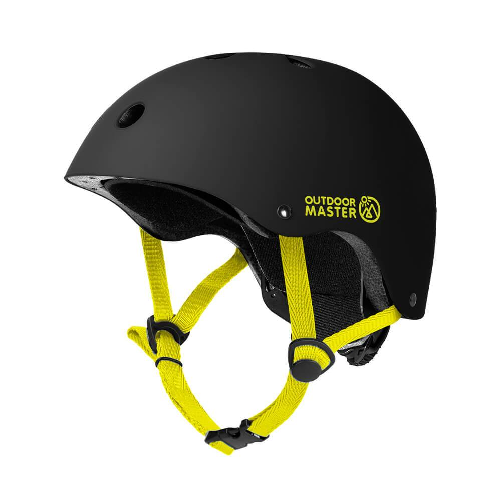 KIDS SKATEBOARD HELMET OutdoorMaster Black-Yellow S