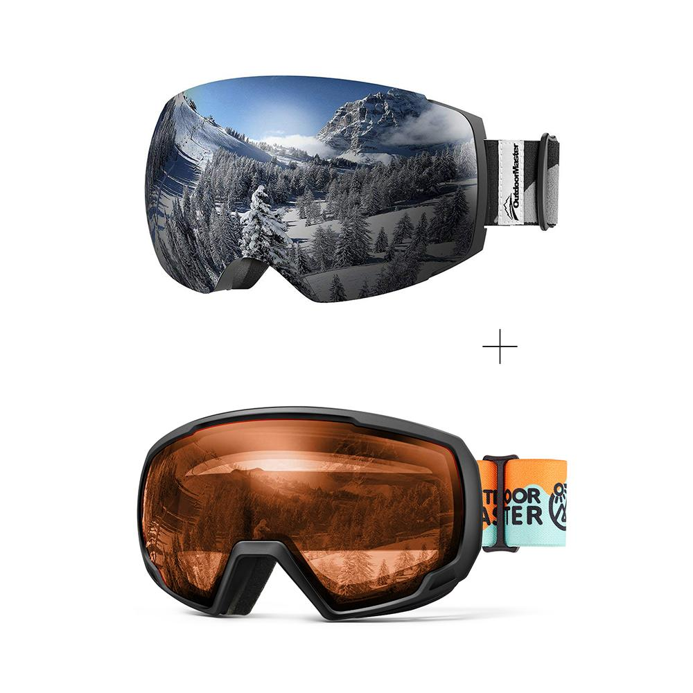 XMAS Bundle Sales - Ski Goggles PRO + Kids Ski Goggles PRO - 2 in 1 Package OutdoorMaster Goggles PRO:Black-Grey Frame VLT 10% Grey Lens + Kids Goggles PRO:VLT 58% Orange Lens