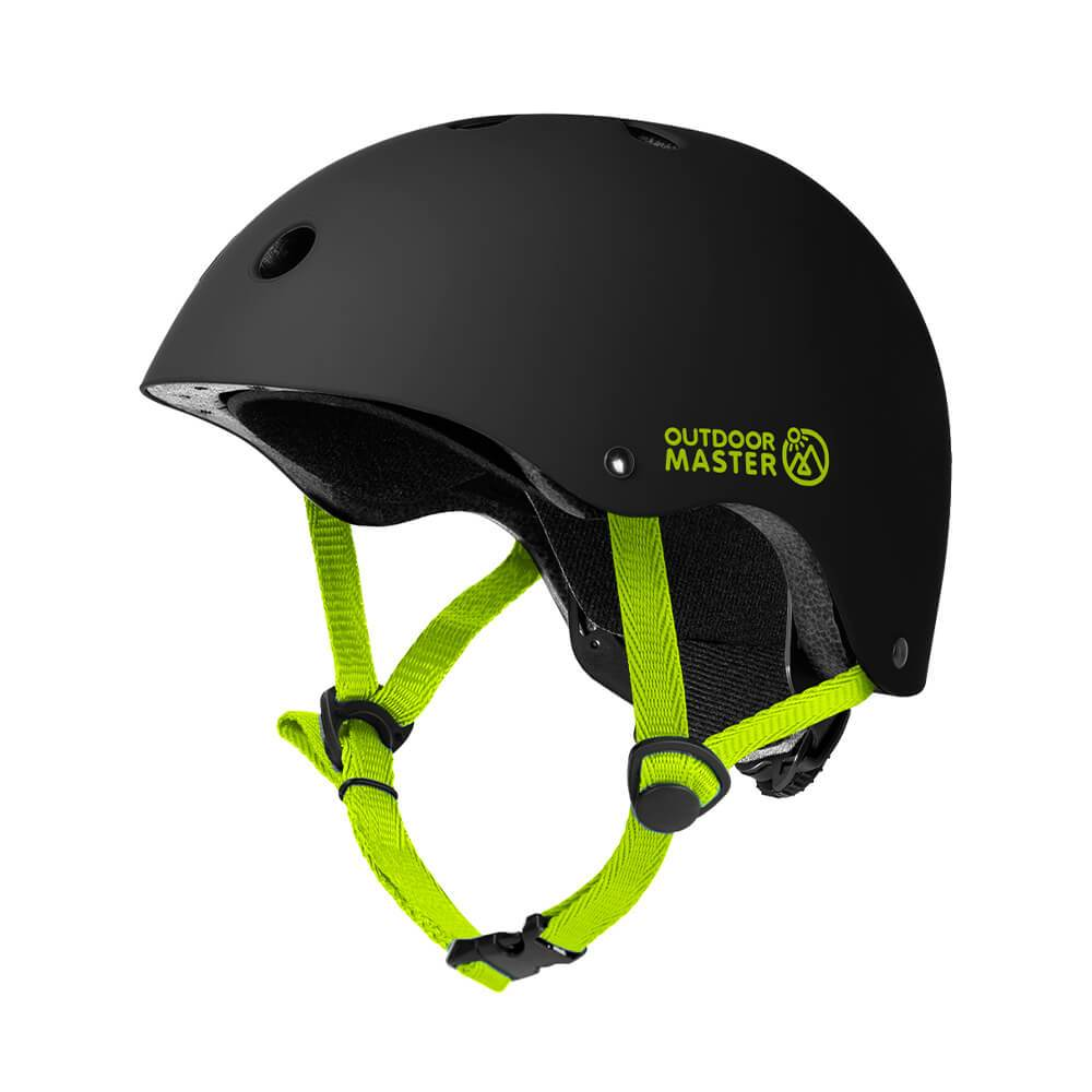 KIDS SKATEBOARD HELMET OutdoorMaster Black-Green S