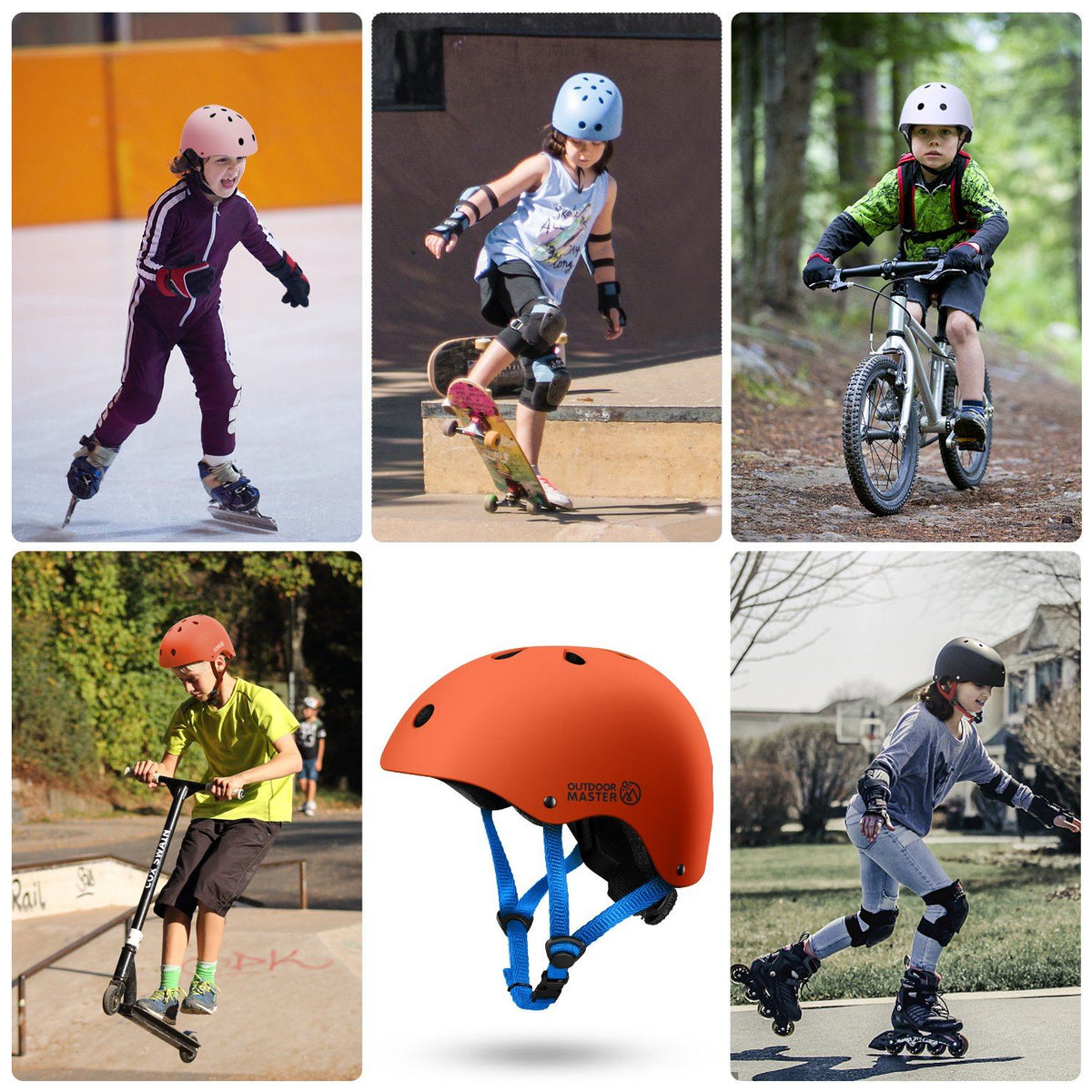 SPRING BUNDLE SALES - KIDS SKATEBOARD HELMET AND GEARS Bundle OutdoorMaster
