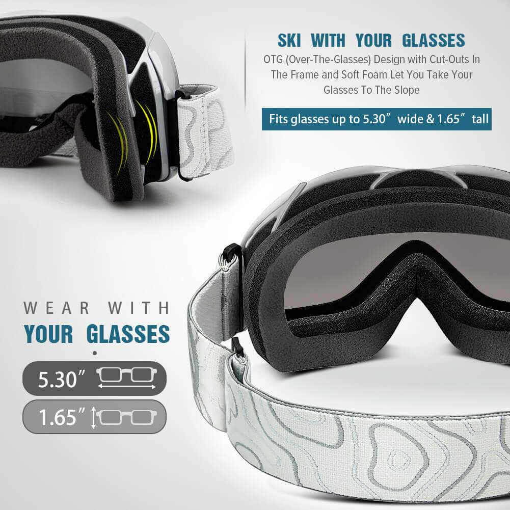SKI GOGGLES OTG - 100% UV400 Protection - for Men, Women & Youth OutdoorMasterShop