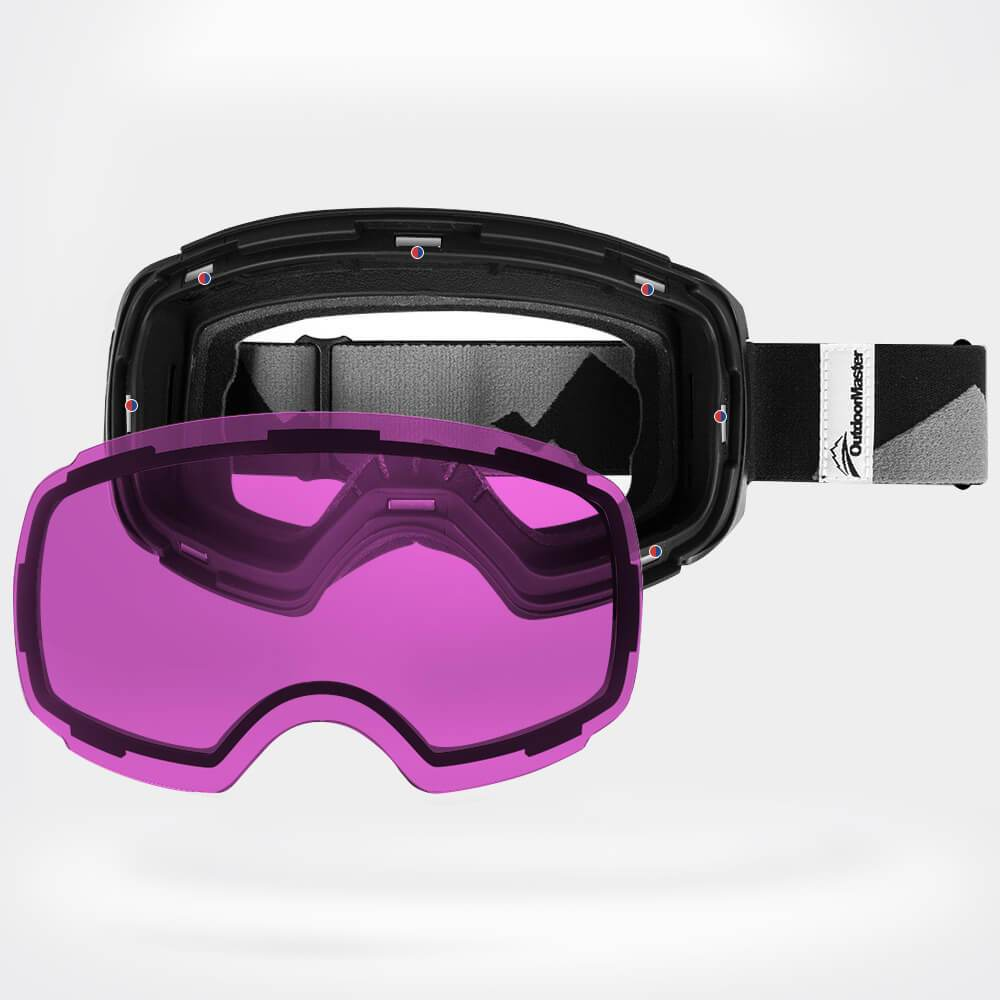 SKI GOGGLES PRO CLASSIC- 20+ Different Lens for Men, Women & Youth - Magnetic Interchangeabele Lens System OutdoorMasterShop Black Frame VLT 30% Purple Lens with REVO Silver