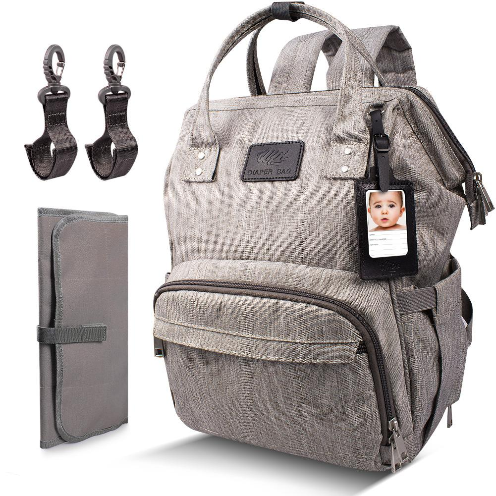 DIAPER BAG WITH CHANGING PAD - Backpack for Mom & Dad OutdoorMaster Grey