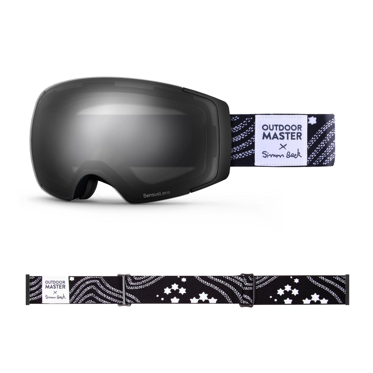 OutdoorMaster x Simon Beck Ski Goggles Pro Series - Snowshoeing Art Limited Edition OutdoorMaster SensusLens VLT 16-80% Photochromatic clear to Grey Star Road-Black
