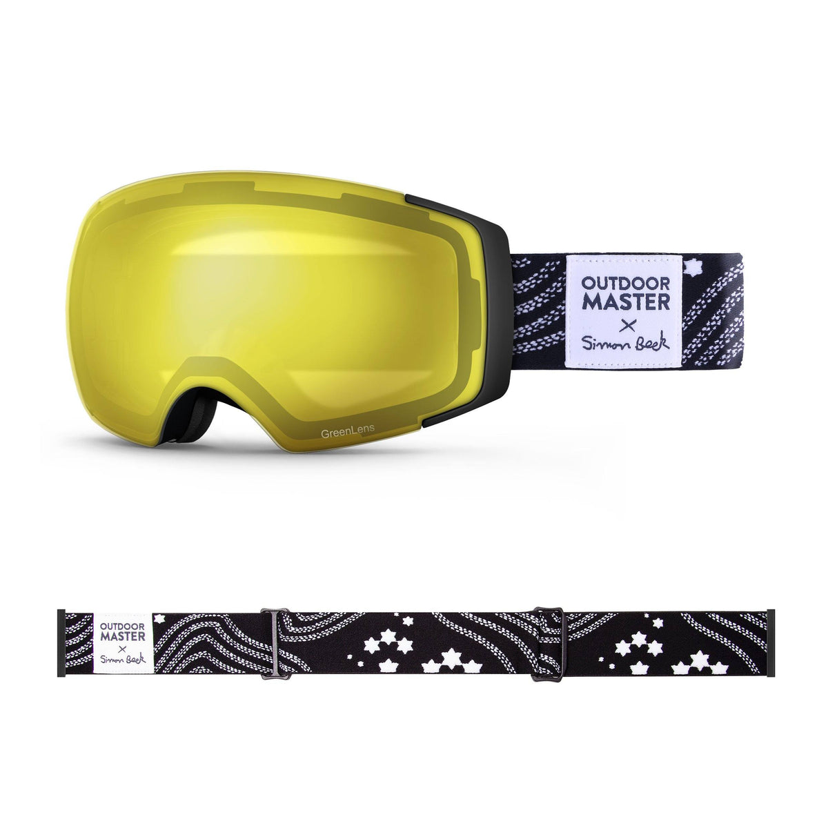 OutdoorMaster x Simon Beck Ski Goggles Pro Series - Snowshoeing Art Limited Edition OutdoorMaster GreenLens VLT 75% TAC Yellow Lens Polarized Star Road-Black