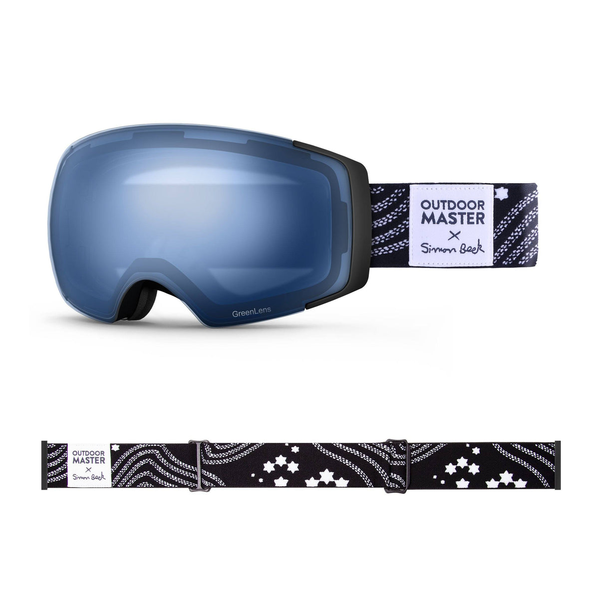 OutdoorMaster x Simon Beck Ski Goggles Pro Series - Snowshoeing Art Limited Edition OutdoorMaster GreenLens VLT 60% TAC Blue Polarized Star Road-Black