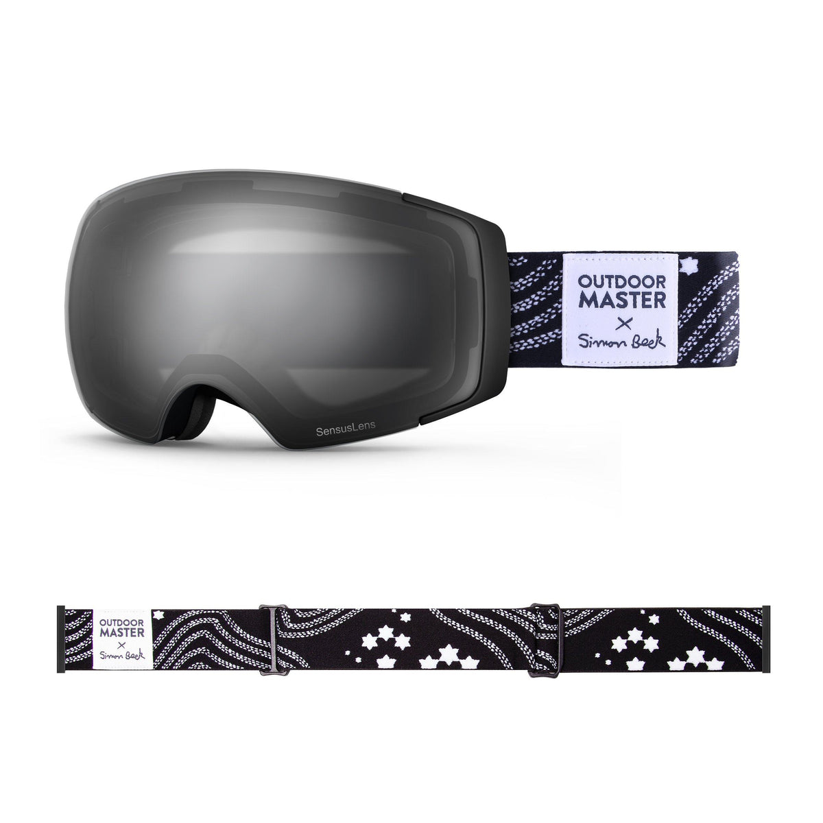 OutdoorMaster x Simon Beck Ski Goggles Pro Series - Snowshoeing Art Limited Edition OutdoorMaster GreenLens VLT 10% TAC Grey With REVO Silver Polarized Star Road-Black