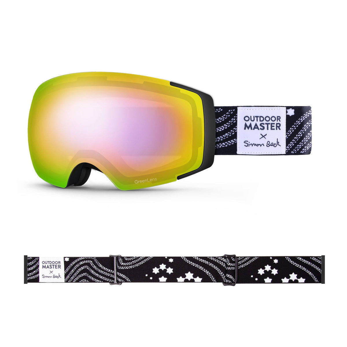 OutdoorMaster x Simon Beck Ski Goggles Pro Series - Snowshoeing Art Limited Edition OutdoorMaster GreenLens VLT 45% TAC Purple with REVO Red Polarized Star Road-Black