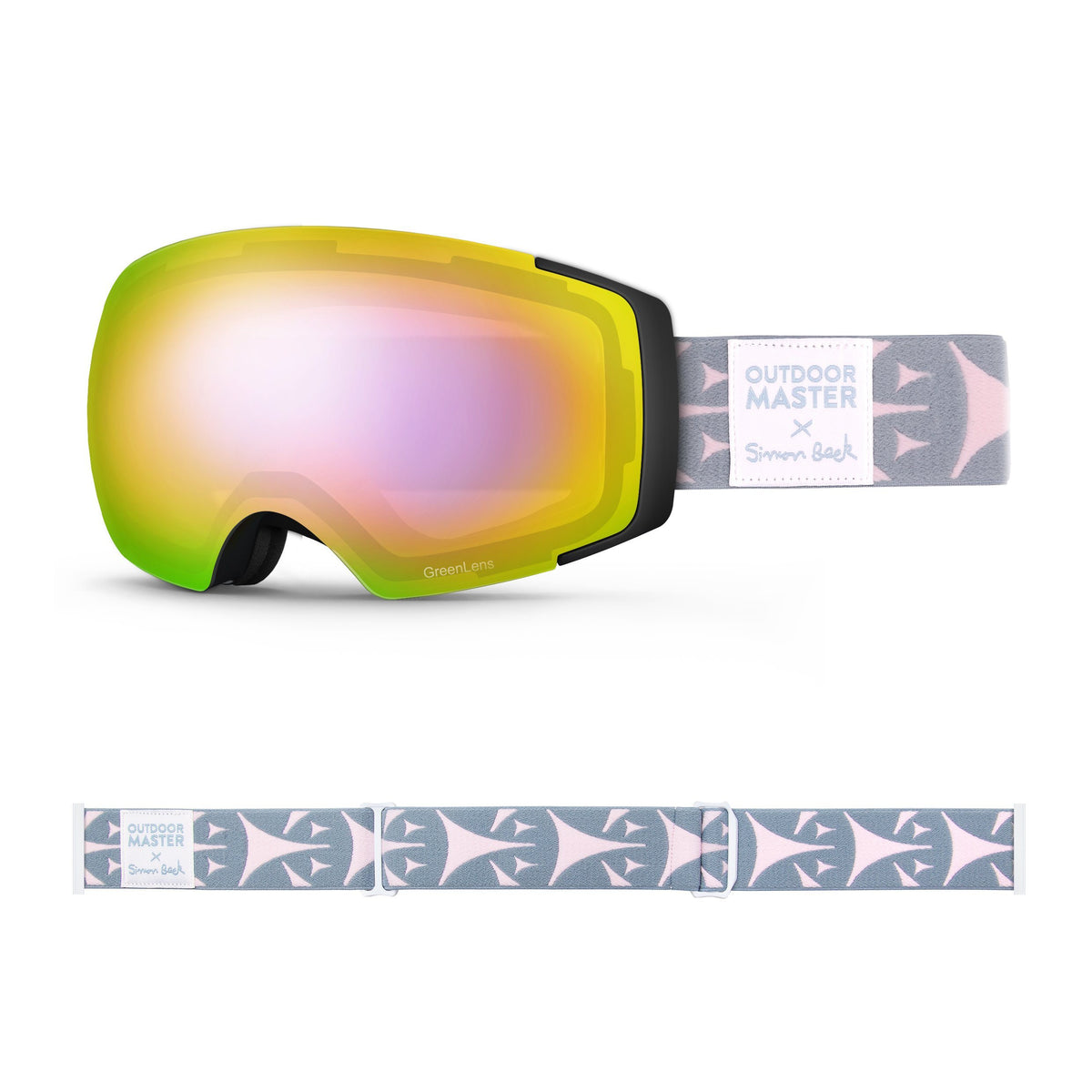 OutdoorMaster x Simon Beck Ski Goggles Pro Series - Snowshoeing Art Limited Edition OutdoorMaster GreenLens VLT 45% TAC Purple with REVO Red Polarized Bouncy Triangles