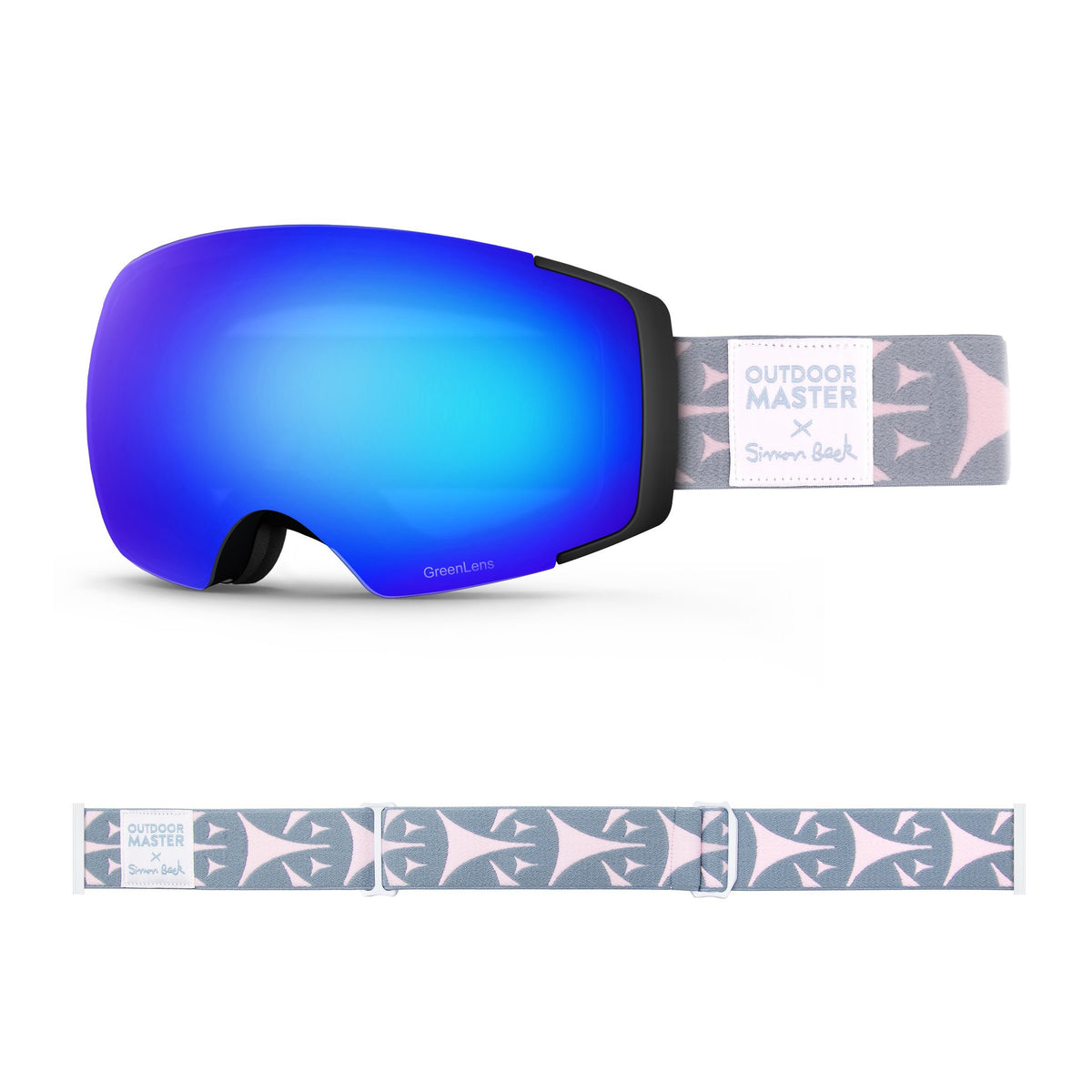 OutdoorMaster x Simon Beck Ski Goggles Pro Series - Snowshoeing Art Limited Edition OutdoorMaster GreenLens VLT 15% TAC Grey with REVO Blue Polarized Bouncy Triangles