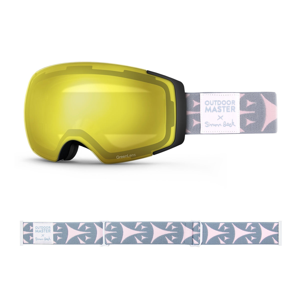 OutdoorMaster x Simon Beck Ski Goggles Pro Series - Snowshoeing Art Limited Edition OutdoorMaster GreenLens VLT 75% TAC Yellow Lens Polarized Bouncy Triangles