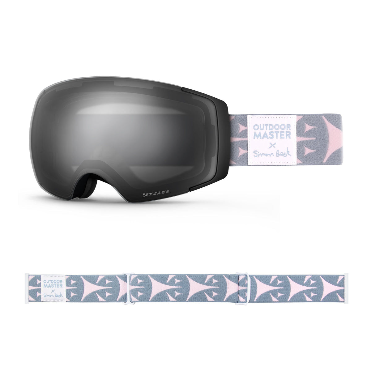 OutdoorMaster x Simon Beck Ski Goggles Pro Series - Snowshoeing Art Limited Edition OutdoorMaster GreenLens VLT 10% TAC Grey With REVO Silver Polarized Bouncy Triangles