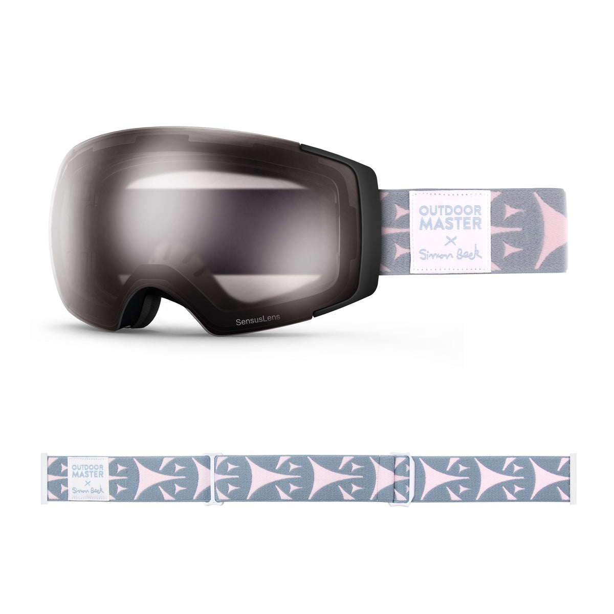 OutdoorMaster x Simon Beck Ski Goggles Pro Series - Snowshoeing Art Limited Edition OutdoorMaster SensusLens VLT40-80% Photochromatic Clear to Pink Bouncy Triangles