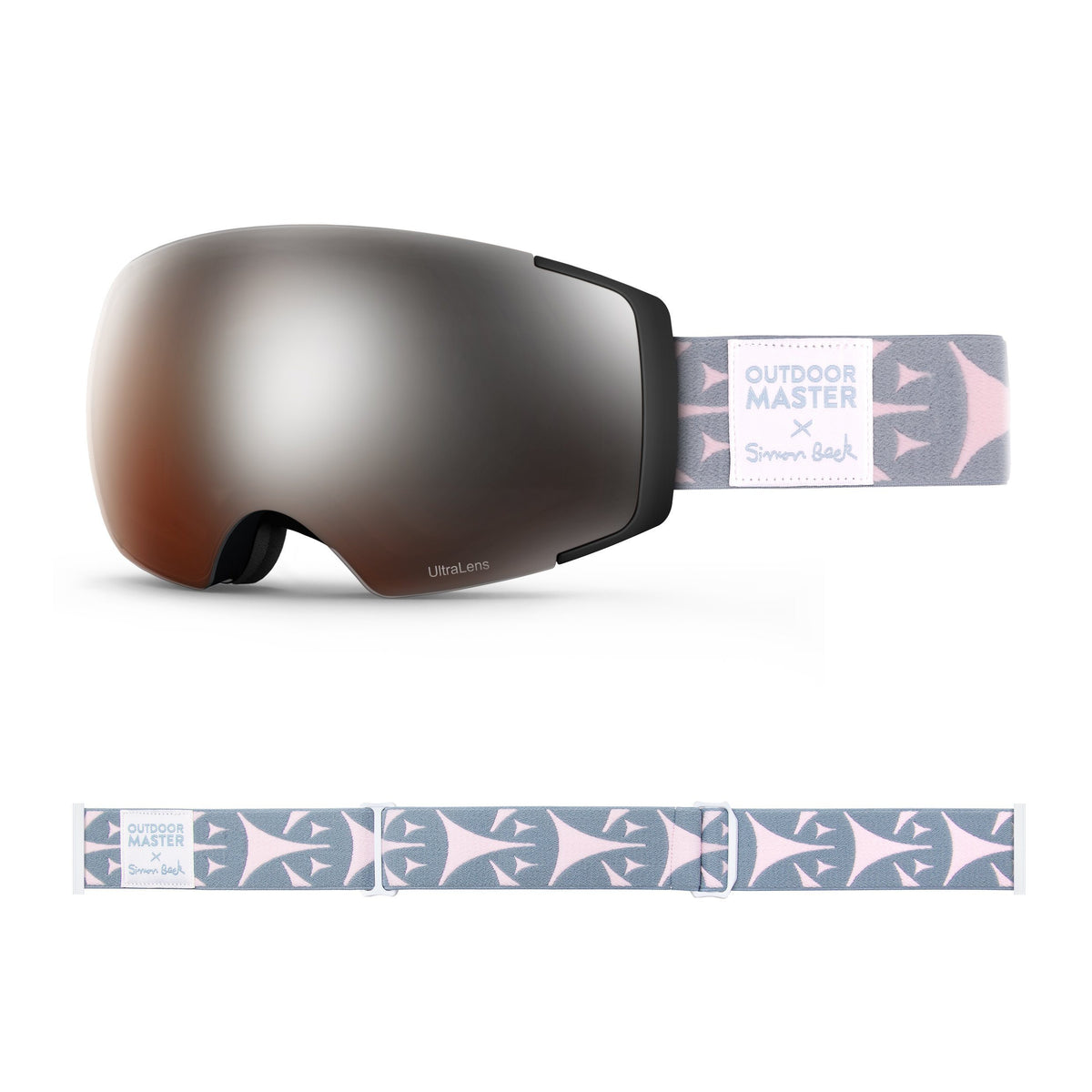 OutdoorMaster x Simon Beck Ski Goggles Pro Series - Snowshoeing Art Limited Edition OutdoorMaster LutraLens VLT 13% Optimized Orange with REVO Silver Bouncy Triangles
