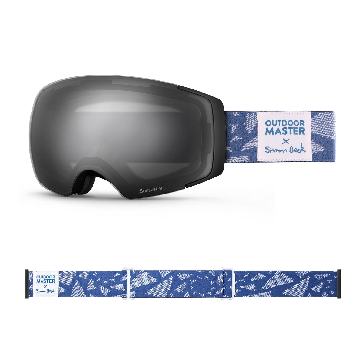 OutdoorMaster x Simon Beck Ski Goggles Pro Series - Snowshoeing Art Limited Edition OutdoorMaster GreenLens VLT 10% TAC Grey With REVO Silver Polarized Flying Triangles