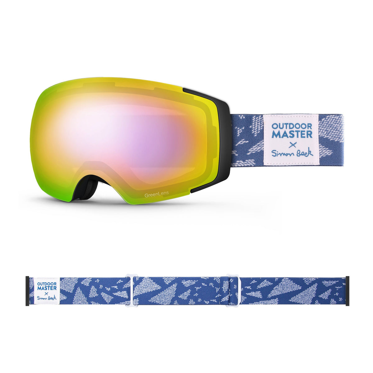 OutdoorMaster x Simon Beck Ski Goggles Pro Series - Snowshoeing Art Limited Edition OutdoorMaster GreenLens VLT 45% TAC Purple with REVO Red Polarized Flying Triangles