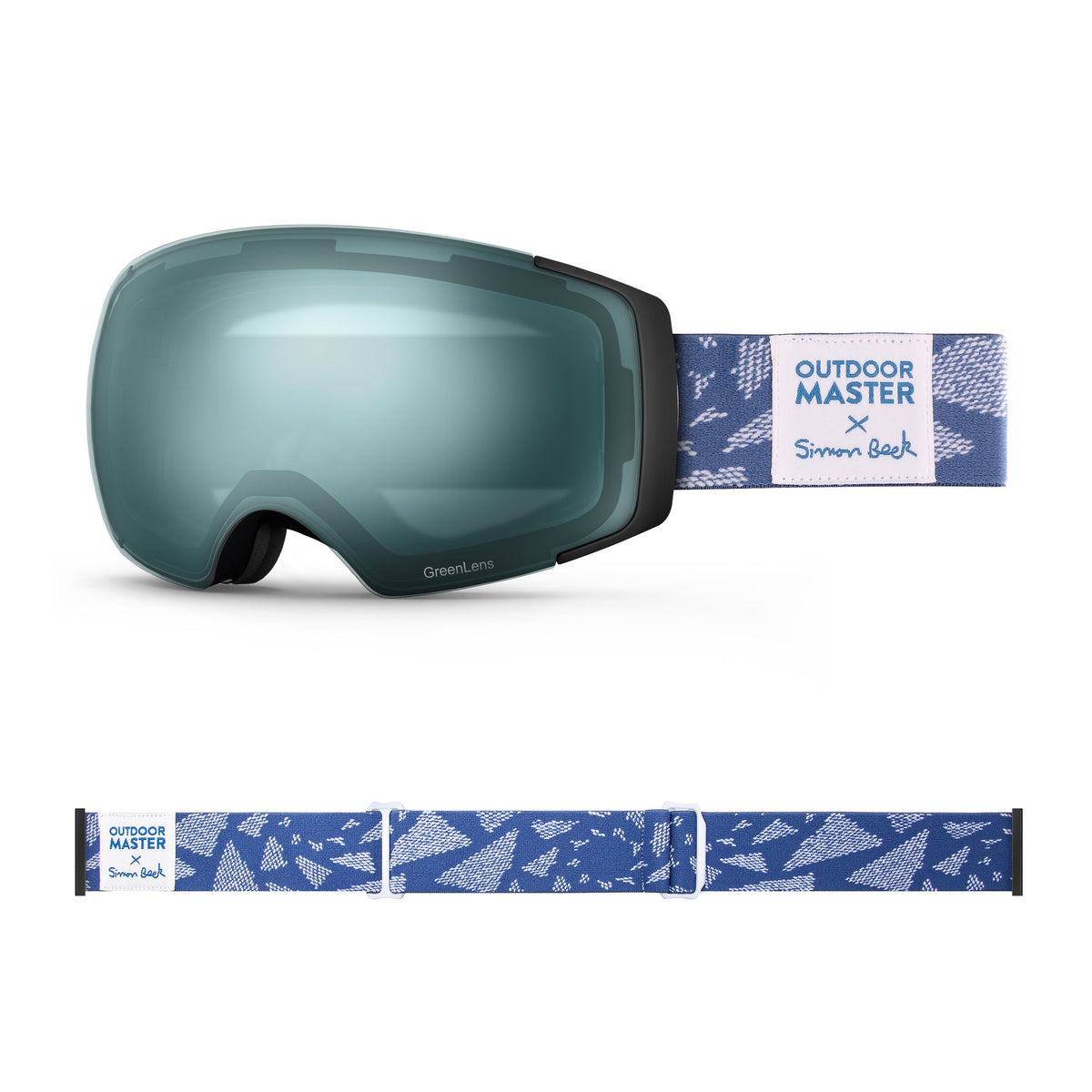OutdoorMaster x Simon Beck Ski Goggles Pro Series - Snowshoeing Art Limited Edition OutdoorMaster GreenLens VLT 20% TAC Green Polarized Flying Triangles