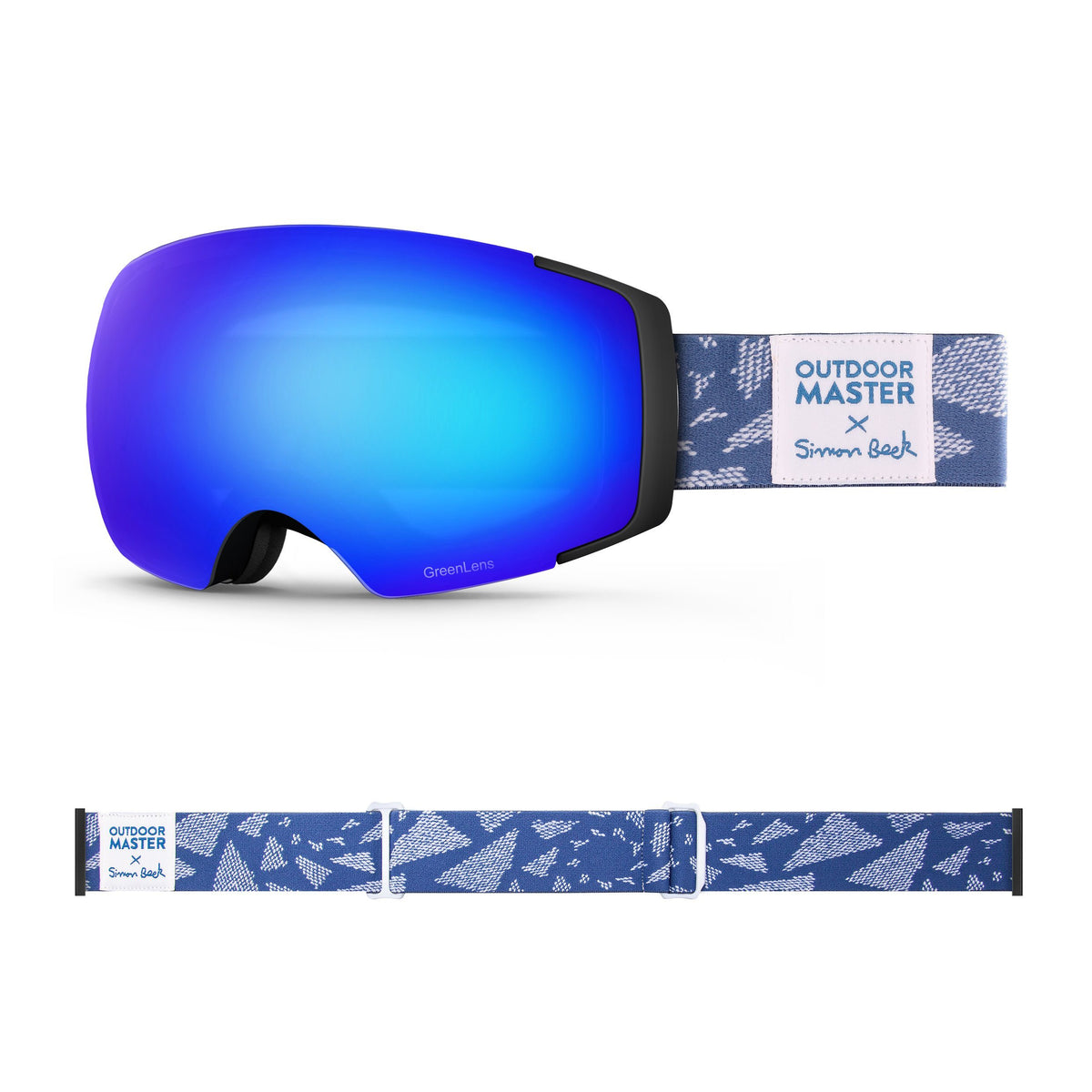 OutdoorMaster x Simon Beck Ski Goggles Pro Series - Snowshoeing Art Limited Edition OutdoorMaster GreenLens VLT 15% TAC Grey with REVO Blue Polarized Flying Triangles