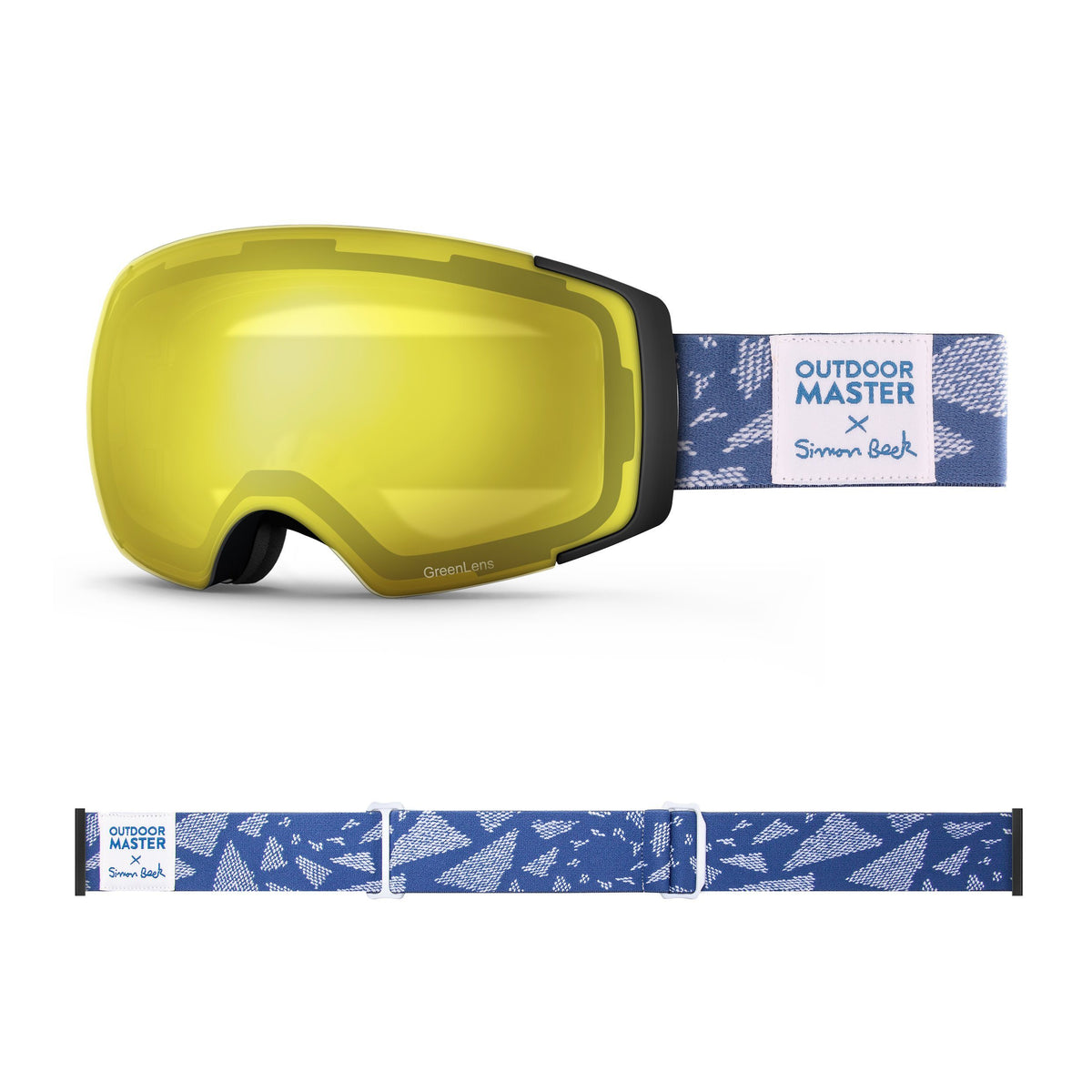 OutdoorMaster x Simon Beck Ski Goggles Pro Series - Snowshoeing Art Limited Edition OutdoorMaster GreenLens VLT 75% TAC Yellow Lens Polarized Flying Triangles
