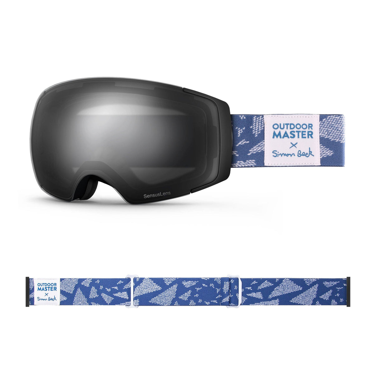 OutdoorMaster x Simon Beck Ski Goggles Pro Series - Snowshoeing Art Limited Edition OutdoorMaster SensusLens VLT 16-80% Photochromatic clear to Grey Flying Triangles