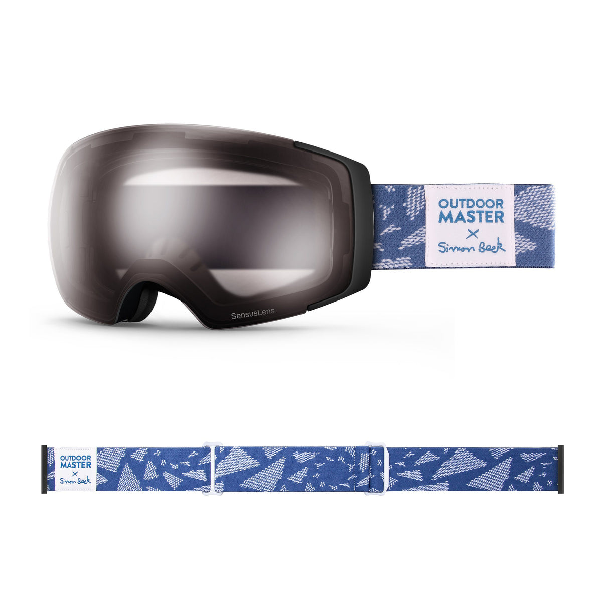 OutdoorMaster x Simon Beck Ski Goggles Pro Series - Snowshoeing Art Limited Edition OutdoorMaster SensusLens VLT40-80% Photochromatic Clear to Pink Flying Triangles