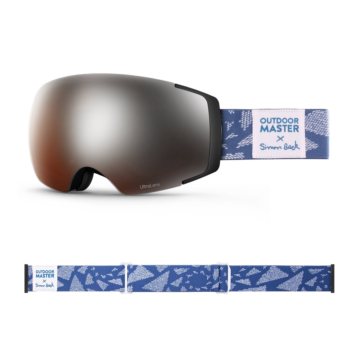 OutdoorMaster x Simon Beck Ski Goggles Pro Series - Snowshoeing Art Limited Edition OutdoorMaster LutraLens VLT 13% Optimized Orange with REVO Silver Flying Triangles