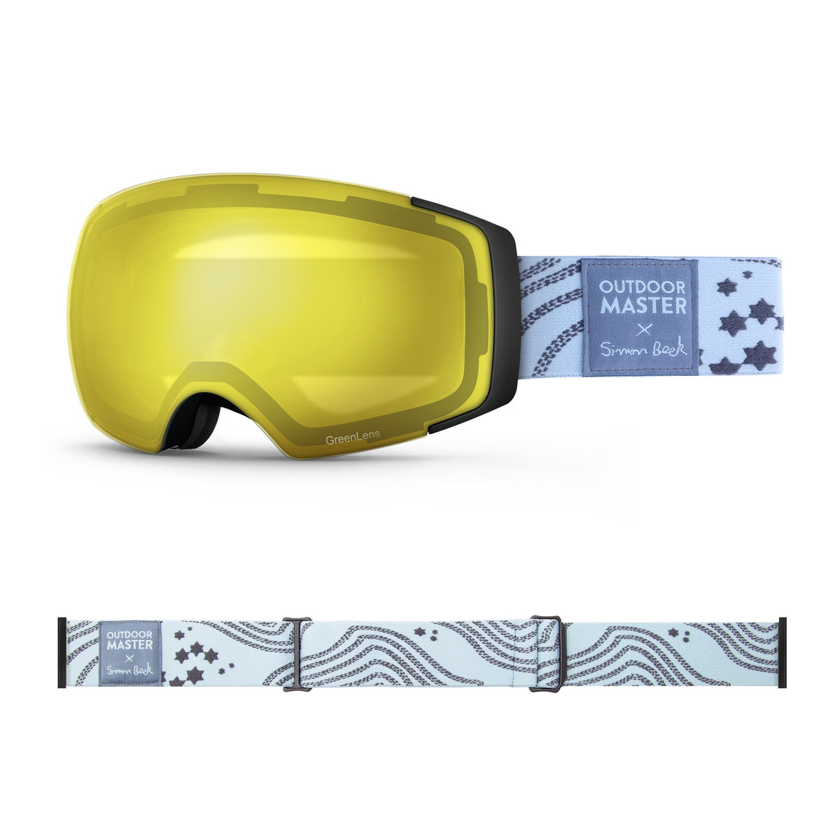 OutdoorMaster x Simon Beck Ski Goggles Pro Series - Snowshoeing Art Limited Edition OutdoorMaster GreenLens VLT 75% TAC Yellow Lens Polarized Star Road-Lightsteelblue