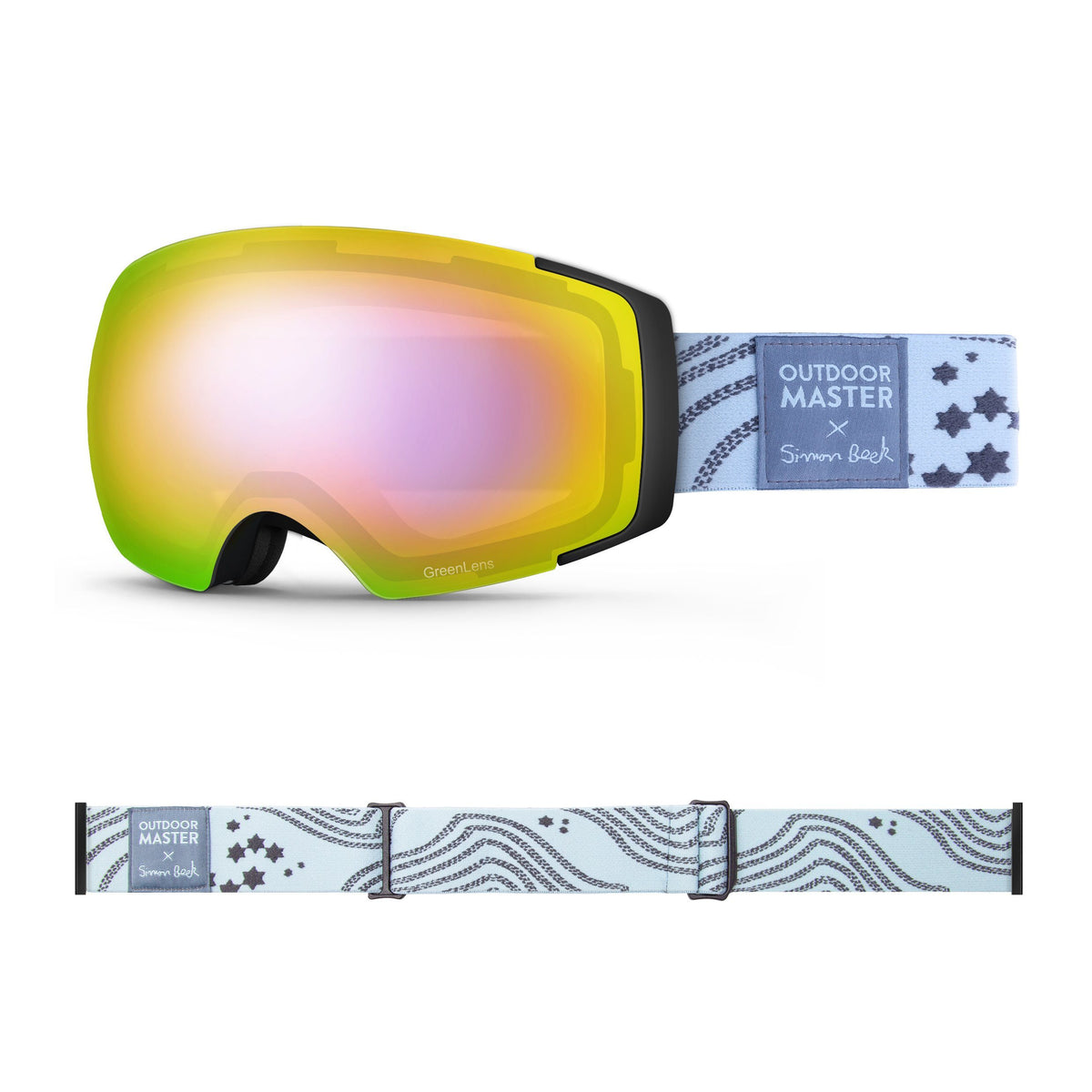 OutdoorMaster x Simon Beck Ski Goggles Pro Series - Snowshoeing Art Limited Edition OutdoorMaster GreenLens VLT 45% TAC Purple with REVO Red Polarized Star Road-Lightsteelblue