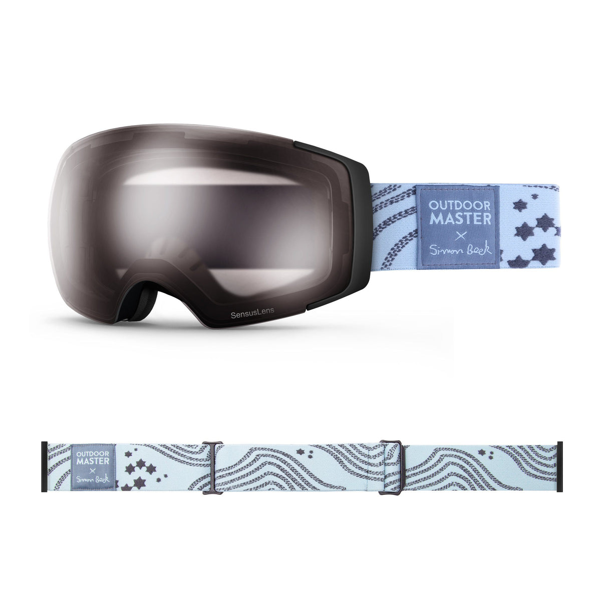 OutdoorMaster x Simon Beck Ski Goggles Pro Series - Snowshoeing Art Limited Edition OutdoorMaster SensusLens VLT40-80% Photochromatic Clear to Pink Star Road-Lightsteelblue