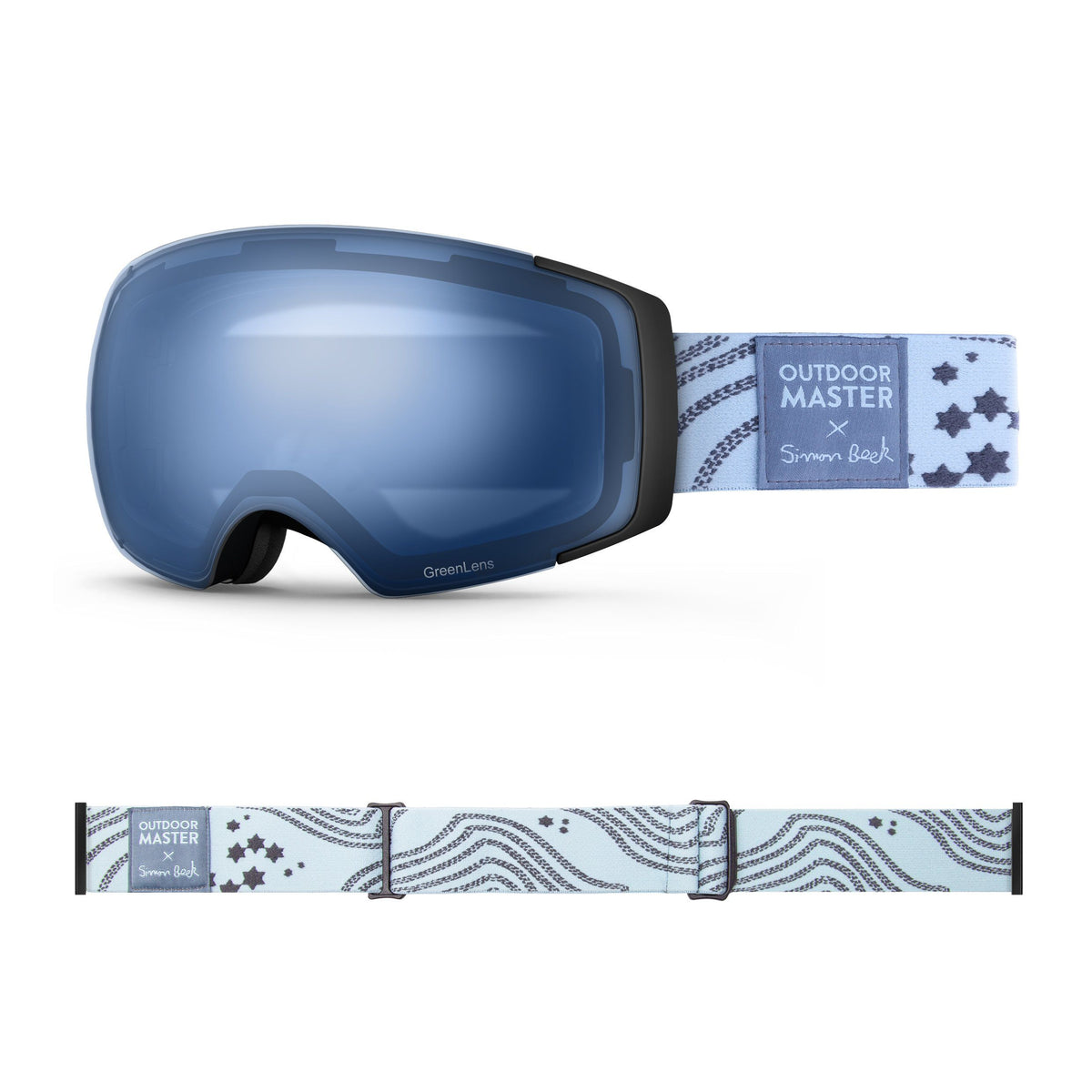 OutdoorMaster x Simon Beck Ski Goggles Pro Series - Snowshoeing Art Limited Edition OutdoorMaster GreenLens VLT 60% TAC Blue Polarized Star Road-Lightsteelblue