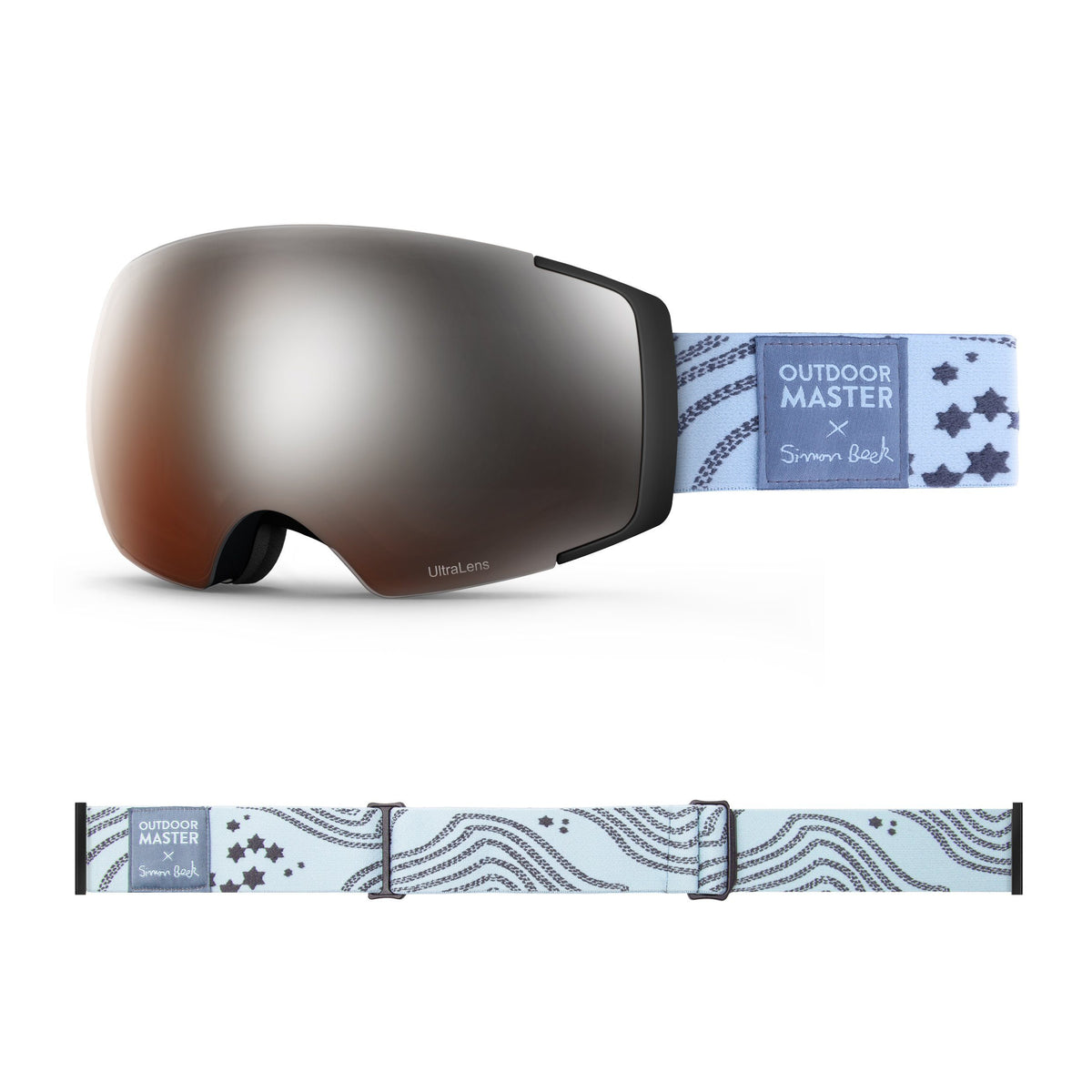 OutdoorMaster x Simon Beck Ski Goggles Pro Series - Snowshoeing Art Limited Edition OutdoorMaster LutraLens VLT 13% Optimized Orange with REVO Silver Star Road-Lightsteelblue